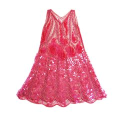 1920s Pink Sequin & Paillette Net Flapper-- this dress actually looks like a column when worn-- just spread out  to show how it flares.     Elaborate rows of pink sequins and pink and silver tube beads. The skirt of the piece is remarkable - it has elaborate and perfect rows of pailettes