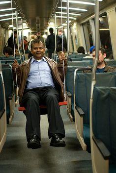 Swing set on the BART transit system, 2009.