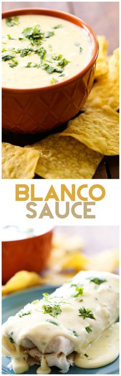 Blanco Sauce... this sauce is creamy, cheesy, perfection! It is my favorite sauce to top my Mexican food with or to dip my chips in!