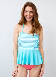 Peplum Pool Stripe Tankini Top