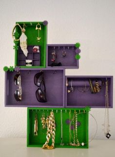 diy jewelry organizer made of wooden boxes