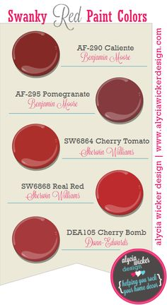 "Red Paint Colors six beautiful ""go-to"" red paint coloursbenjamin moore. ideal"