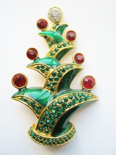 FAMOUS FRENCH Christmas Tree Pin  Art-Deco replica of a tree by one of the most famous Parisian designers who ever lived