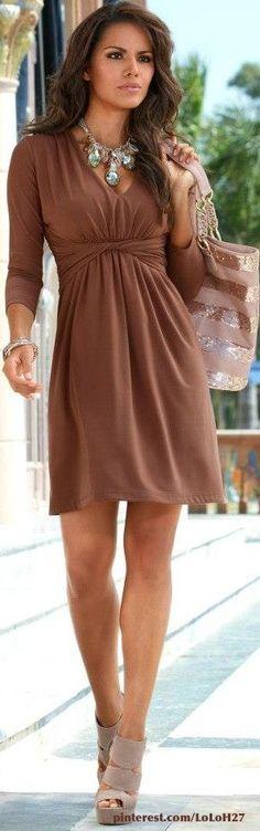 @roressclothes clothing ideas #women fashion  brown dress