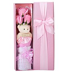 Creative Romantic Pink Flower Bouquet 3 Scented Roses Bath Soap Gift Box With Cute Teddy Bear Birthday Best Anniversary Birthday Mothers Day Valentines Present sf0302 Review