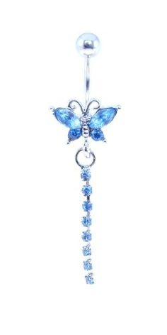 Blue Butterfly Navel Belly Button Dangling Ring. g 1L surgical stainless steel.