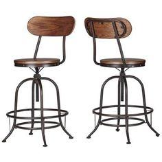 HomeSullivan Olson Industrial Swivel Bar Stool in Brown (Set of 2)-405429-242PC…