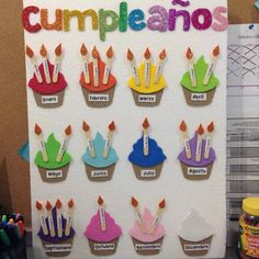 You see: Corners and Decoration 2 - - Geburtstagskalender - taktak decor Classroom Setup, Classroom Displays, Preschool Classroom, Classroom Organization, Preschool Crafts, Crafts For Kids, Decoration Creche, Birthday Bulletin Boards, Birthday Charts