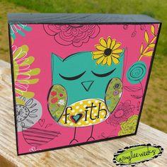 Christian Art, Whimsical Art, Wise Reminders - Faith owl, art block (size-5x5). $20.00, via Etsy.