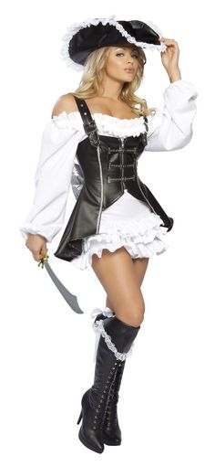 Pirate Maiden Includes Ruffle Dress, Zipper Front Corset Adorned With A Bow, Hat, And Sword. Shop this now YourLaMode #sexy #pirates #costumes #women #clothing