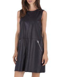 Robe cuir noir STELLA OAKWOOD