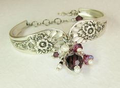 Spoon Bracelet, Jubilee 1953, with Silver Dragonfly, Amethyst Crystals, White Pearls