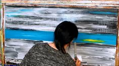 How to paint abstract landscape with acrylics. Tutorial, Demo. Landschaf...