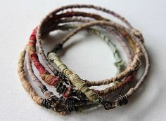 Bangle Set of Five  Handmade  Minimalist  Recycled but by cheldena, $30.00