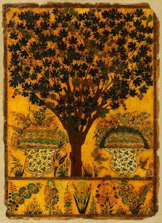 ≈ Beautiful Antique Books ≈ Book cover with tree, birds, and insects Golconda, c. Vintage Book Covers, Vintage Books, Book Cover Art, Book Art, India Painting, Mughal Paintings, Forever Book, Birds And The Bees, Beautiful Book Covers
