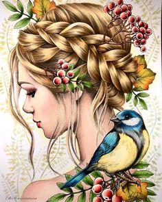 Colorful Drawings, Cute Drawings, Pencil Drawings, Watercolor Illustration, Watercolor Art, Forest Drawing, Girl Drawing Sketches, Color Pencil Art, Fairy Art
