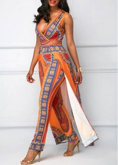 V Neck Overlay Embellished Dashiki Print Orange Jumpsuit African Fashion Designers, African Inspired Fashion, African Print Fashion, Africa Fashion, African Dresses For Women, African Attire, African Fashion Dresses, African Wear, Ankara Fashion