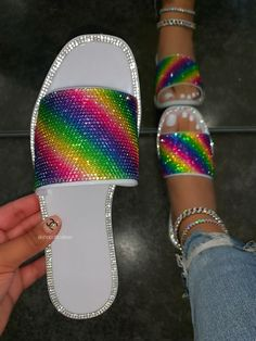 Open Toe Flats, Peep Toe Shoes, Jelly Sandals, Slide Sandals, Leather Flats, Pu Leather, Rainbow Jelly, White Rainbow, Fashion Slippers