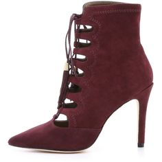Cynthia Vincent Harp Suede Lace Up Booties (395 NZD) ❤ liked on Polyvore featuring shoes, boots, ankle booties, cynthia vincent boots, suede boots, suede lace-up boots, laced boots and laced booties