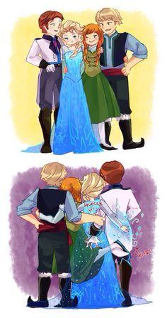 Behind the scenes... Anna hit Hans, Elsa freezes Hans, Kristoff squeeze his arm ! XD