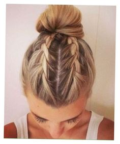 Braids Into Two Buns Idea august braids into a bun the wonderful becky of Braids Into Two Buns. Here is Braids Into Two Buns Idea for you. Braids Into Two Buns trend watch mohawk braid into top knot half up hairstyles. Up Hairstyles, Pretty Hairstyles, Braided Hairstyles, Wedding Hairstyles, Short Summer Hairstyles, Athletic Hairstyles, Cool Hairstyles For Girls, Workout Hairstyles, Hair Inspo