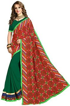 4cd225a70c21fe Riva Enterprise women's Georgette heavy embroidred pallu half and half red  and green color saree with