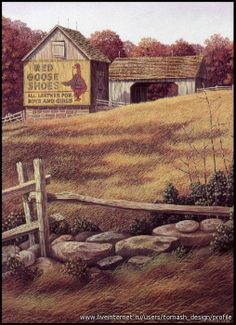 Red Goose Shoes by Jim Harrison Country Barns, Country Life, Jim Harrison, Shed Windows, Autumn Painting, American Country, Covered Bridges, American Artists, Decorative Paintings