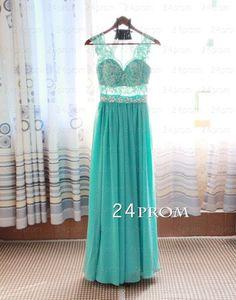A-line Green Lace Long Prom Dress,Formal Dress – 24prom #prom #greenprom #longprom #promdress