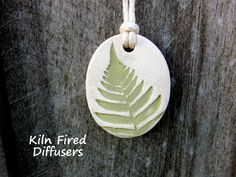 Fern Essential Oil Diffuser Necklace by KilnFiredDiffusers on Etsy