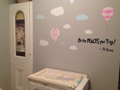 Grey nursery with clouds and hot air balloons. Dr Seuss quote