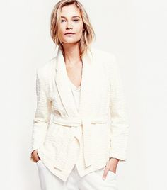 Free People Textured Blazer With Tie in Tea