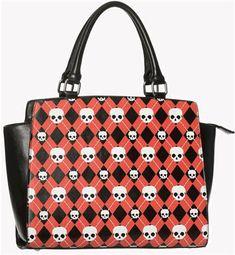 ANGUS argyle skull PURSE by Banned Apparel. - #infectiousthreads #goth #gothic #horrorpunk #punk #alt #alternative #psychobilly #punkrock #black #fashion #clothes #clothing #darkfashion #streetfashion #purses #handbags #skulls #argyle