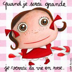 """Tableau d'Isabelle Kessedjian """"Quand je serai grande, je verrai la vie en rose"""" - Le Coin des Créateurs"""