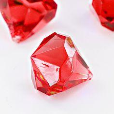 Red Acrylic Large Diamonds Decorative Gems - 3 Cups