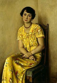 """""""Jeune femme en jaune"""", 1933,  by François Emile Barraud (Swiss, 1899-1934)"""