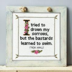Frida Kahlo - cross stitch quote