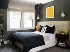 Gray Bedroom Color Schemes For Small Space -sleepy grey with pop of personality yellow