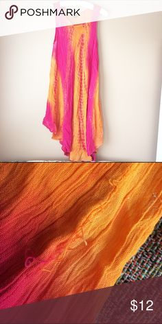SOL Orange and Pink Tie Die Beach Dress Worn a few times, has a little snag but otherwise great condition SOL Dresses Maxi