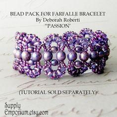 "Bead Pack for ""Plum"" Farfalle Bracelet by Deborah Roberti - Colorway by Claire - Farfalle Bracelet Bead Pack"