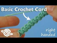 Basic Crochet Cord (right-handed version). This decorative cord is easy to crochet as it uses only single crochet stitches! It makes a strong flattened non-stretchy braid with many applications, for example: jewellery, a narrow belt, or a strap for a Crochet I Cord, Single Crochet Stitch, Crochet Hooks, Hand Crochet, Crochet Basics, Crochet For Beginners, Crochet Stitches Patterns, Crochet Designs, Crochet Bracelet Tutorial