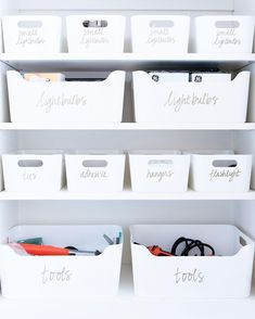 """Utility room essentials stored in bright white bins ✨ Find these pieces and our favorite household items on THE shop page [thehomeedit.com/shop] under """"shop the feed"""" // or shop via screenshot using the @liketoknow.it app // http://liketk.it/2vGpY ✨ #thehomeedit #household #utility #organization"""