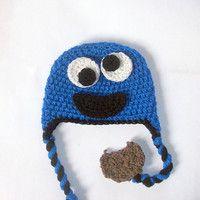 elmo crochet hat pattern free   Monster Hat CROCHET PATTERN, Cookie Monster Hat, Elmo Hat, Beanie and ...