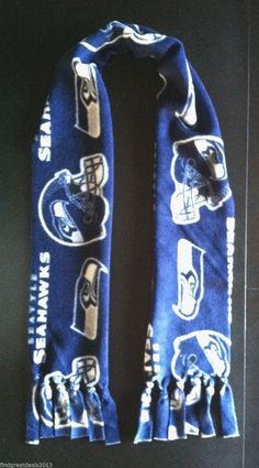 """Seattle Seahawks Fleece Logo Scarf - Approx. 6"""" x 60"""" - NFL Football Team Fans - Christmas Gift - Blue and White Winter Scarf #seattleseahawks #nflscarf #fleecescarf #nflteams #footballscarf #foothillcrafters #etsy"""