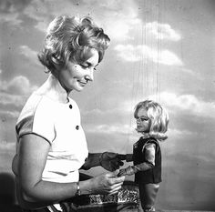 Sylvia Anderson with Venus from Fireball XL5.
