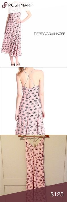 """Rebecca Minkoff Graphic Flower Pink Maxi Dress Flowy pink and black contemporary Floral Maxi Dress. Adjustable straps with a crossover detail in back. Side zipper for flattering fit. 41"""" underarm to hem. Bust 18"""". Measured flat. Excellent condition. Dry clean. Rebecca Minkoff Dresses"""