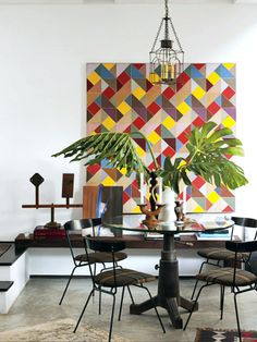 Designer Mark Egerstrom, photo by Lisa Romerein for House Beautiful Jul 2012 Pantone home + interior 2014 color trend #eccentricities #eccentric #experimentation #neon #lemon #nectarine #blue #brown #pink #warmred #black #white