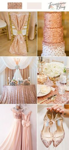 rosegold sequins wedding ideas glimmering rosegold-cald wedding cake chair decortion table bridesmaid dress shoes shimmer bridesmaid dress | rosegold wedding idea | rosegold glitter table cloth | chair décor rosegold glitter | wedding cake rosegold ombre 23 Sparkle Wedding Color Palette: Add Sparkling Glitter & Sequins to Your Wedding #rosegoldwedding #rosegold #weddings #chairs #weddinginspiration