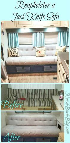 | Glamper | Reupholstering Your Jack Knife Sofa! Complete tutorial how to reupholster an RV Jack Knife Sofa. Including unbelievable before & after photos, steps to diy and items used to compete project! Super cheap and easy to do. Complete 5th wheel rv camper remodel / renovation / complete gut! Used modern #farmhouse design style for my inspiration.
