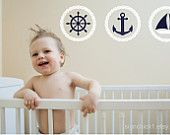 Rope Circle Set with Anchor Compass Star Sailboat Ships Wheel wall decals nautical wall decor 6 x 6 inches - SMALL SIZE