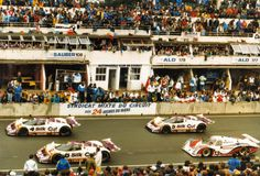 Le Mans 1987 - Jaguar Jaguars on the starting grid. Watson/Lammers/Percy and Nielsen/Brundel/Hahne. Le Mans, Xjr, F1 Racing, Jaguar, Grid, Garage, History, Classic, Pictures